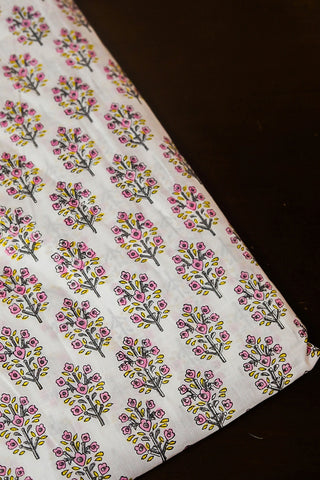 Small Florals in White Sanganeri Cotton Fabric