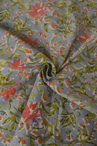 Orange with Pink Floral in Bluish Grey Sanganeri Cotton Fabric-1.9 m