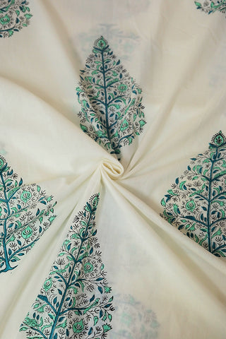 Big Green Leaf Florals in White Sanganeri Cotton Fabric-1.9 m