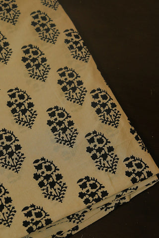 Beige with black Block Printed Cotton Fabric
