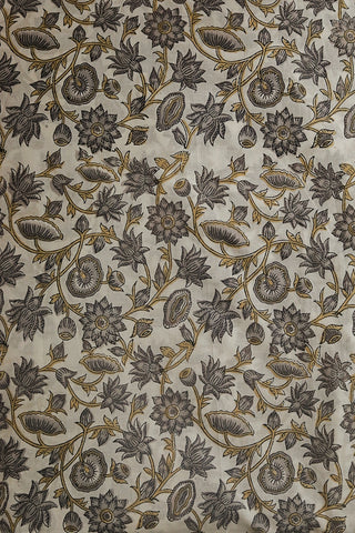 Off White with Grey Florals Sanganeri Cotton Fabric-0.9 m