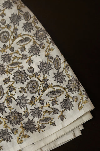 Off White with Grey Florals Sanganeri Cotton Fabric