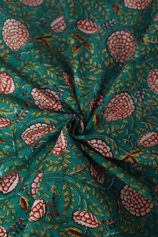 Sea green with Red Flower Sanganeri Cotton Fabric