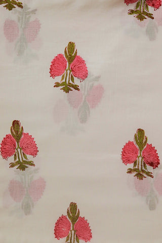 Pink with Green Floral in Off White Sanganeri Cotton Fabric