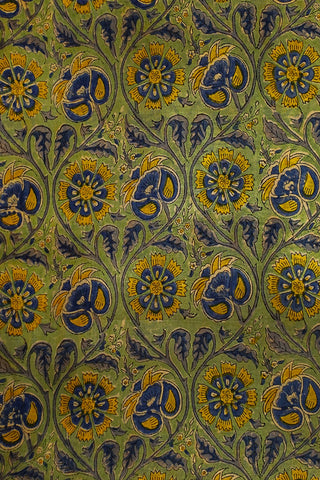 Yellow Blue Floral Chanderi Silk Cotton Fabric-1.1 m