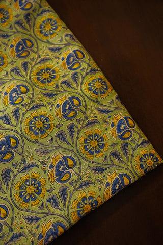 Yellow Blue Floral Chanderi Silk Cotton Fabric
