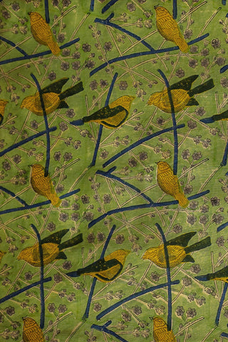 Sparrow in Green Chanderi Silk Cotton Fabric-0.5 m