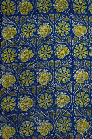 Yellow Floral in Blue Chanderi Silk Cotton Fabric-1.9 m