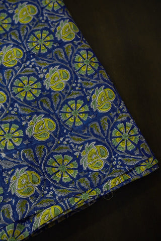 Yellow Floral in Blue Chanderi Silk Cotton Fabric