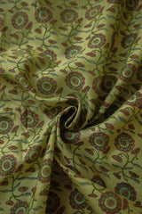 Pink with Green Floral Chanderi Silk Cotton Fabric