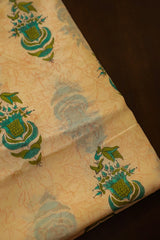 Green Motif Chanderi Silk Cotton Fabric