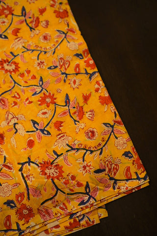 Orangish Yellow with Floral Chanderi Silk Cotton Fabric