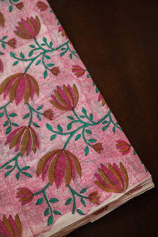 Lotus on Pink Chanderi Silk Cotton Fabric-0.5 m