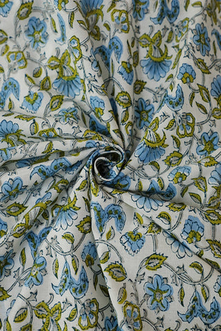 Floral Sanganeri Cotton Fabric