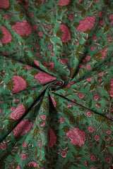 Pink Floral in Green Sanganeri Cotton Fabric