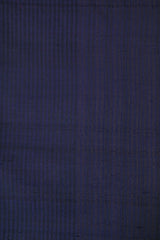Blue with Black Stripes Desi Tussar Silk Plain Fabric-1.75 m