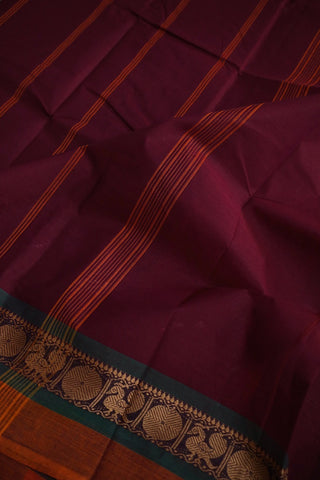 Maroonish Purple with Fenugreek Kanchi Cotton Saree