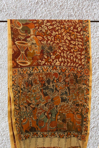 Brownish Maroon Leaves Painted Kalamkari Chanderi Silk Cotton Saree
