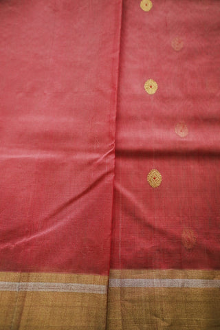 Pinkish Peach Meena Butta Chanderi Silk Cotton Saree