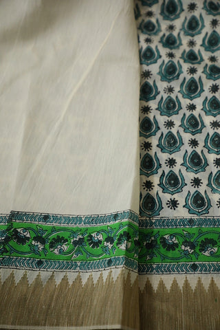 Off White with Green Gicha Border Chanderi Saree