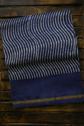 Off White Waves in Indigo Bagru Print Chanderi Saree