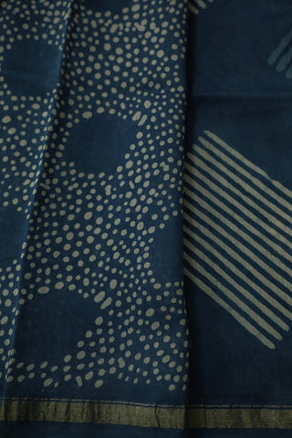 Lines in Indigo Bagru Print Chanderi Saree