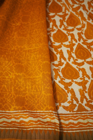 Yellow Gicha Border Chanderi Saree