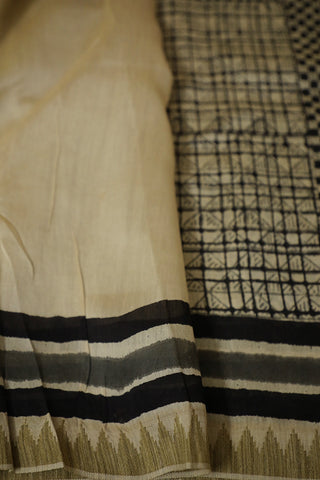 Small Black Squares Gicha Border Chanderi Saree