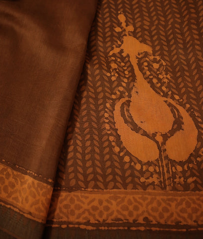 Brownish Orange Gicha Border Chanderi Saree