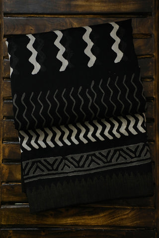 Black with Gicha Border Chanderi Saree