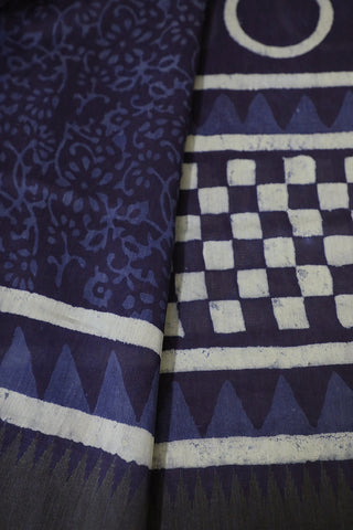 Box and Circles in Indigo Gicha Border Chanderi Saree