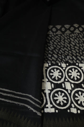Black with Small Gicha Border Chanderi Saree