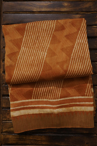 Light Brown with Gicha Border Chanderi Saree