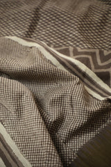 Criss Cross in Grey Gicha Border Chanderi Saree