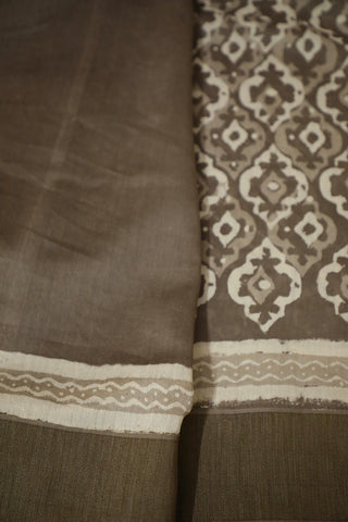 Grey with off White Gicha Border Chanderi Saree