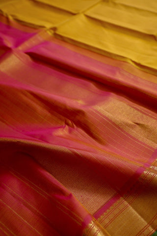 Yellow with Pink Stripes Kanchi Silk Saree with Zari Border