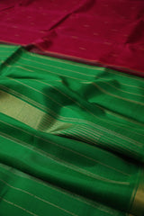 Maroon with Green Tissue Border Kanchi Silk Saree