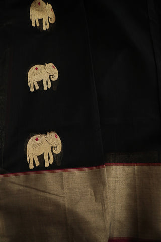 Elephant Motif in Black Chanderi Silk Cotton Saree