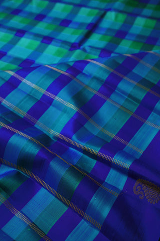 Shades of Blue and Green Checks Kanchi Silk Saree