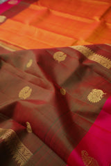 Double Shade Yellowish Orange Kancheepuram Silk Saree