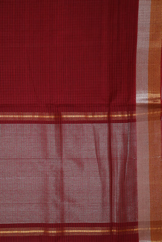 Maroon with Gold and Silver Zari Handwoven Mangalagiri Cotton Saree
