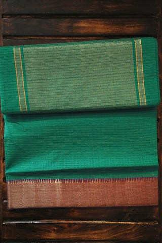 Blueish Green Handwoven Mangalagiri Cotton Saree