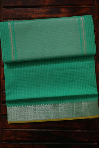 Foam Green with Silver Zari Border Handwoven Mangalagiri Cotton Saree