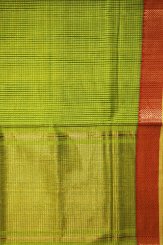 Neon Green with Red Temple Border Mangalagiri Cotton Saree