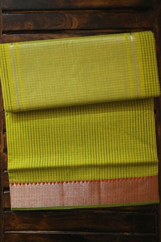 Yellowish Green with Silver Zari Border Mangalagiri Cotton Saree