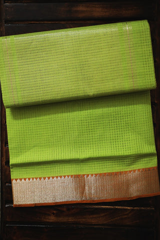 Light Green with Orange Silver Border Mangalagiri Cotton Saree