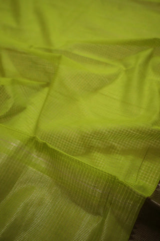 Lime Green with Brown Temple Border Handwoven Mangalagiri Cotton Saree