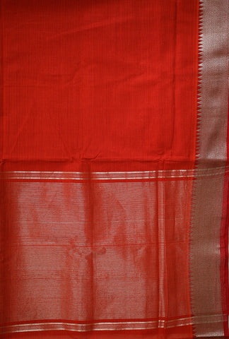 Orangeish Red with Silver Zari Border Handwoven Mangalagiri Cotton Saree