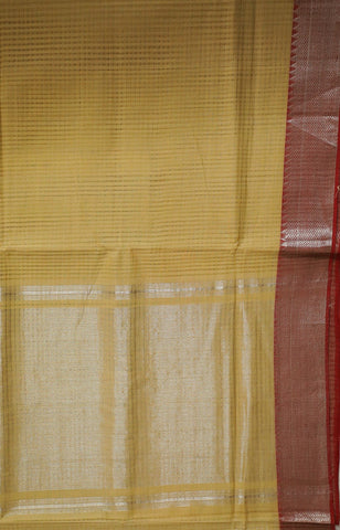Beige with Red Temple Border Handwoven Mangalagiri Cotton Saree