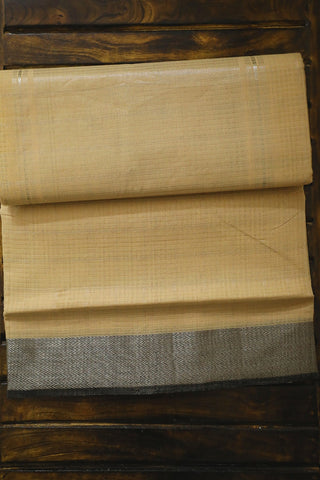 Beige with Grey Silver Border Handwoven Mangalagiri Cotton Saree